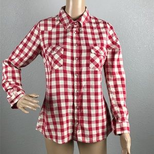 Love stitch Red and white button down sz S